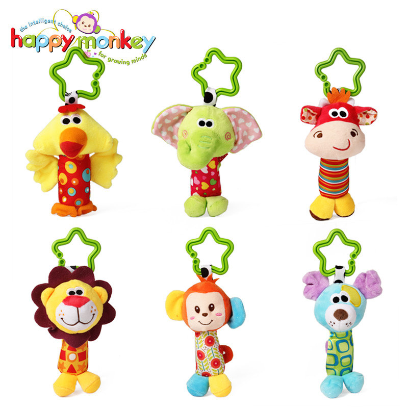 Happy Monkey Animal Plush Stuffed Soft Baby Rattle Stick Toys Hanging Hand Bells for Children Newborn Gift Grasp Game Elephant image