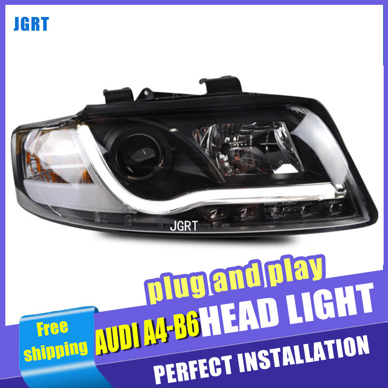 Car Styling Headlight assembly 2001-2004 for A4 B6 DoubleU Angel Eye LED DRL Lens Double Beam H7 hid kit with 2pcs. hireno headlamp for peugeot 4008 5008 headlight headlight assembly led drl angel lens double beam hid xenon 2pcs