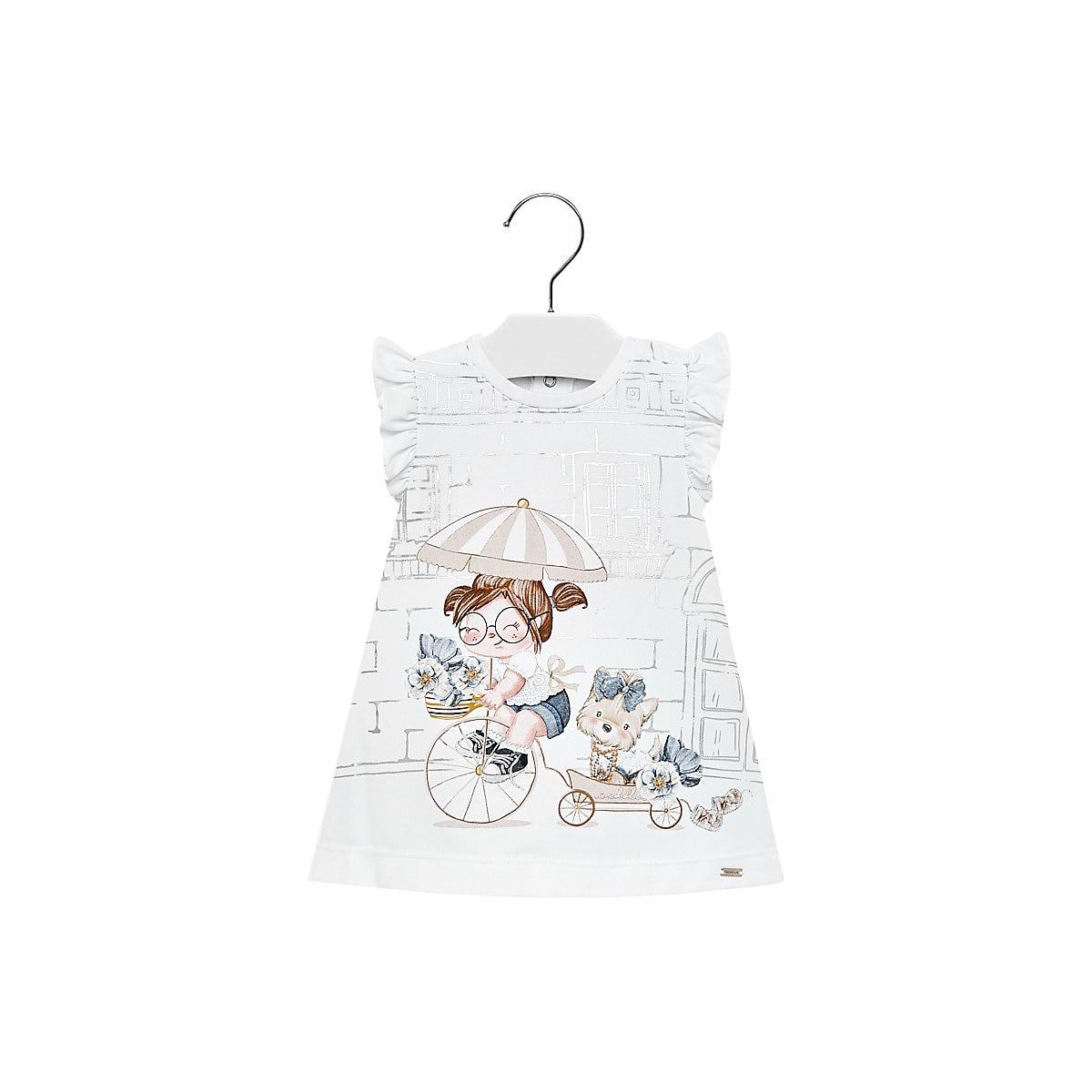 MAYORAL Dresses 10691653 Girl Children fitted pleated skirt White Polyester Casual Print Knee-Length Sleeveless Sleeve girl print drawstring top