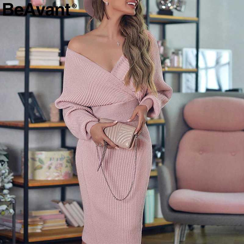 BeAvant Сексуальное Женское трикотажное платье с v-образным вырезом осень зима рукав «летучая мышь» женское платье элегантное, миди вечерние женские платья-свитера 2019