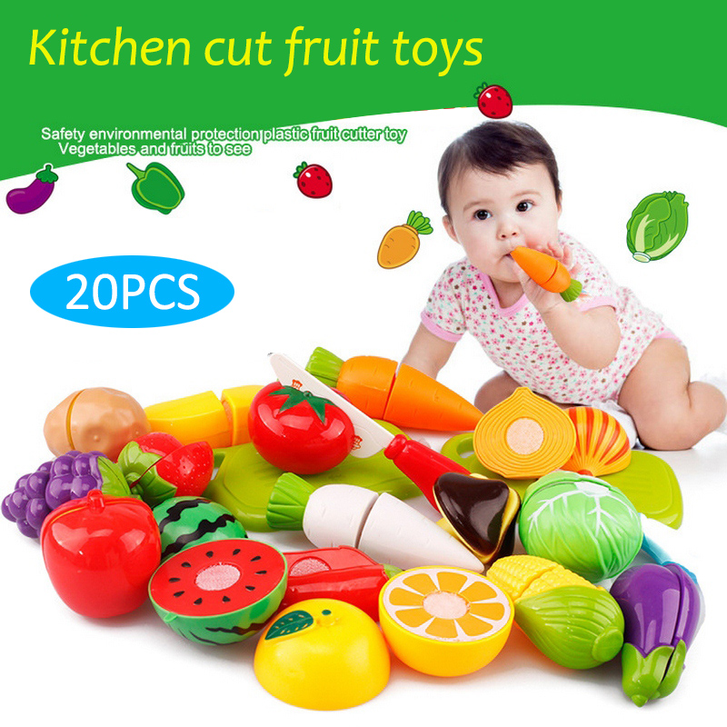 20Pc/set Plastic Kitchen Toys Pretend Kitchen Play Toys Cutting Fruit Vegetable Food Educational Kitchen Toys for Children Girl