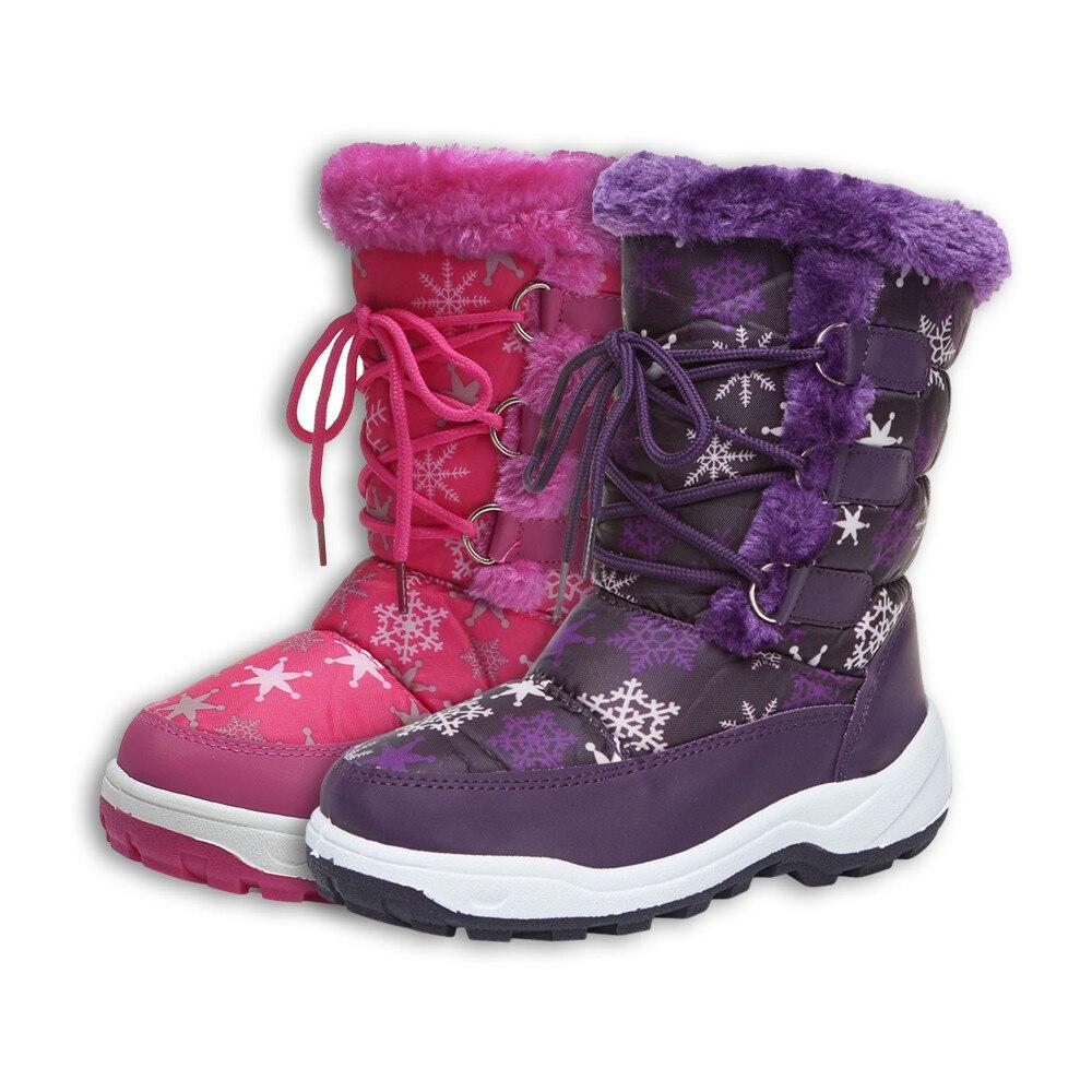 Kids Casual Snow Boots Cotton-padded Shoes Plush Zipper Slip-resistant Mid-calf Snowshoes Size 28-35 Footwear Botas White Purple цена