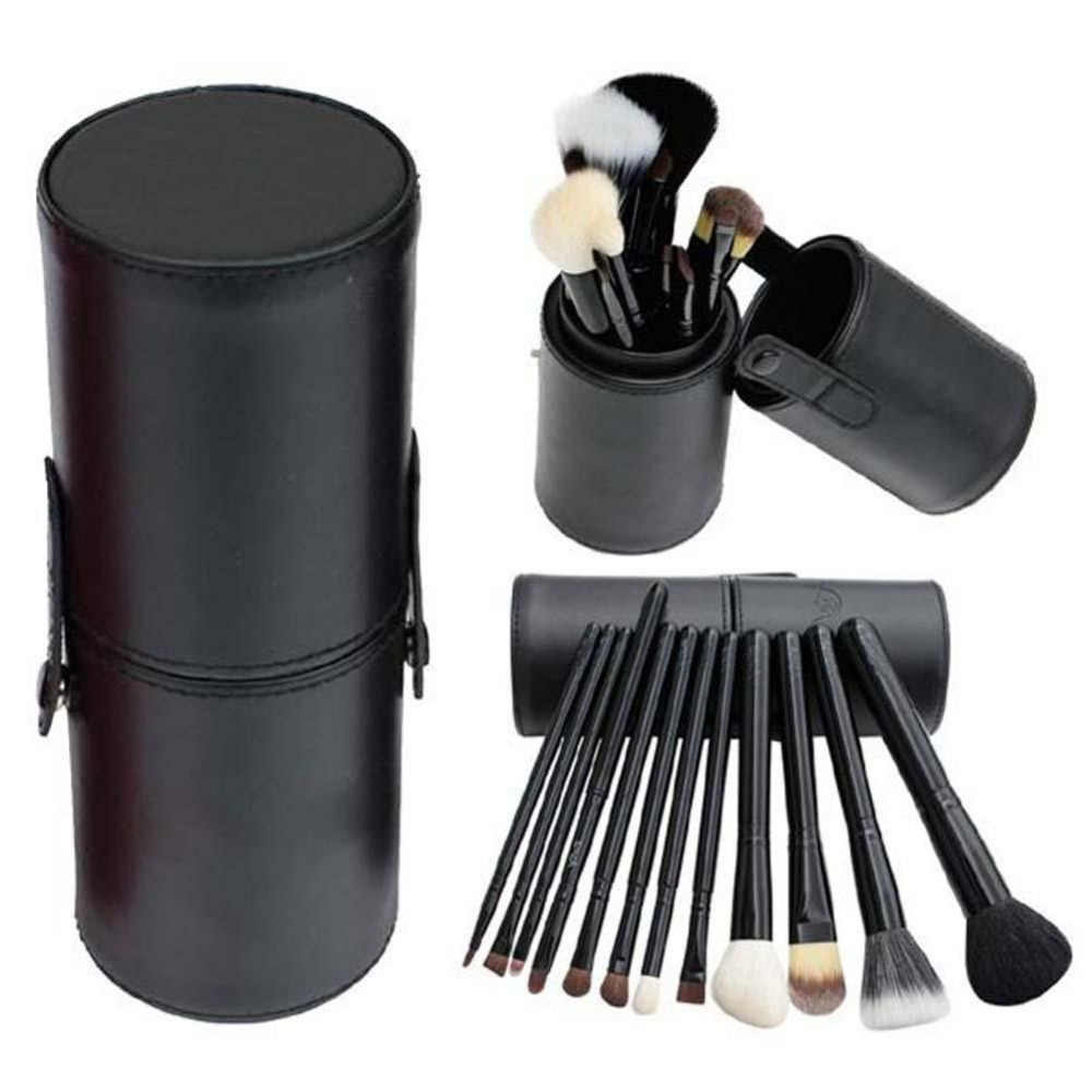 NEW Hot Beauty Makeup Brushes 12pcs/set Pro Cosmetic Makeup Brush Set Make up Tool + Leather Cup Holder Kits hot pro makeup brushes kits flower leather cup holder comestic brushes empty case 4 color free shipping