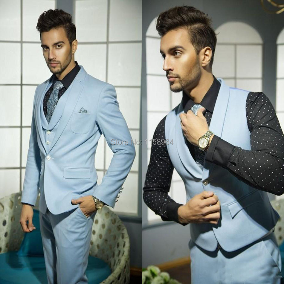 Mens Wedding Suits Handsome Formal Suits for Men Blue Vest Grooms Suite for Wedding Selling One Button Tuxedos for Men 3 psc-in Suits from Men\'s ...
