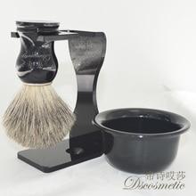 3 in 1 Men's Shaving Set Drip Brush Stand + Pure Badger Hair shaving Brush + Bowl Mug