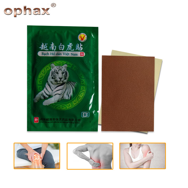 OPHAX 24pcs/3bags White Tiger Balm Chinese Herbal Medical Plasters For Joint Pain Back Neck Muscle Curative Pain Relieving Patch