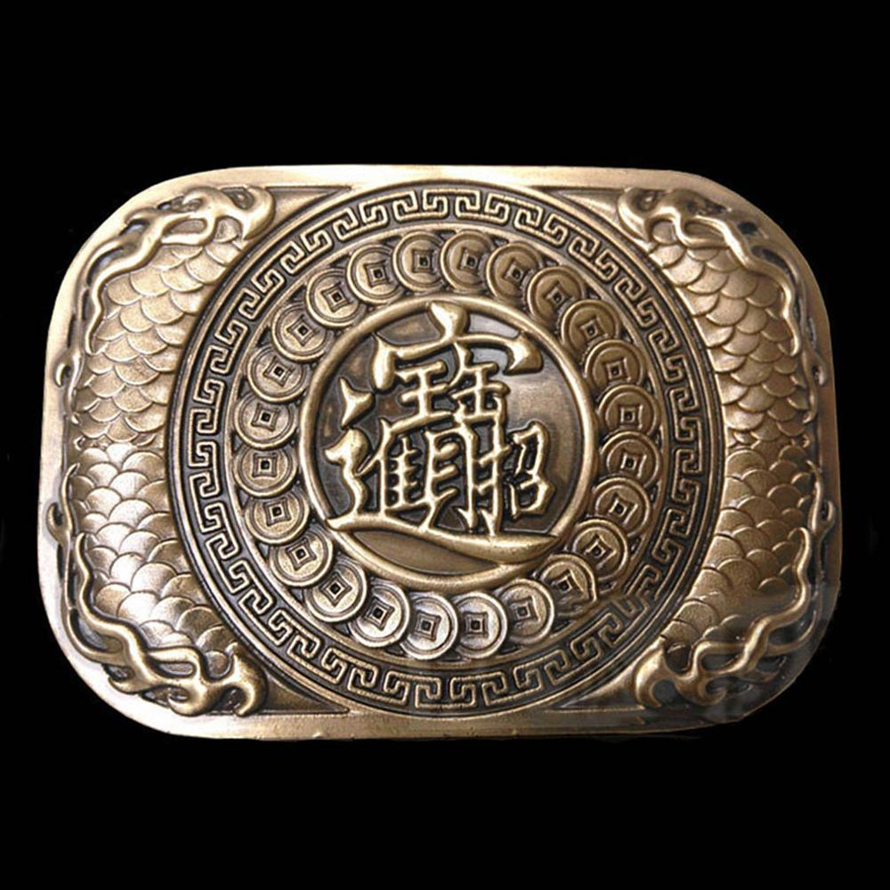 FAJARINA 2018 New Unique Chinese Character Word Gold Solid Brass Buckle Only for 3.6-3.9cm Width Belt Free Shipping  BCK001
