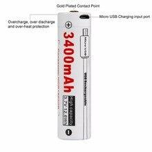 LUMINTOP 18650 LM34C Lanterna Da Bateria USB Bateria Recarregável Proteção Da Bateria Li-Ion de 3400 mAh 3.7 V