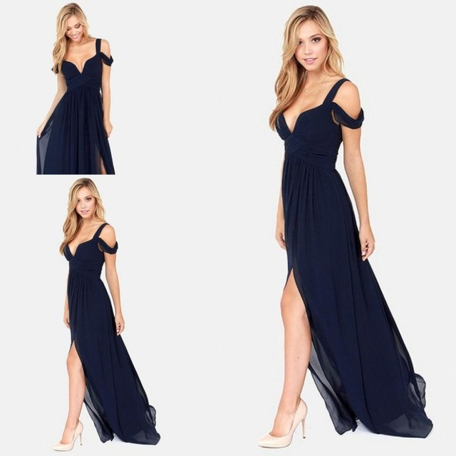 Sexy Ocean Of Elegance Navy Blue Low Cut High Slit Chiffon Semi Formal Long  Event Dress f60bc1bc4