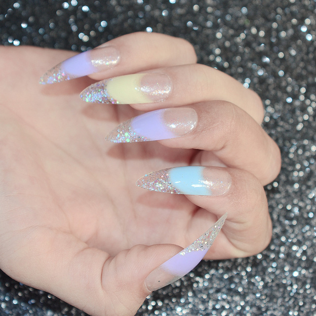 Shiny Pointed French Acrylic Nail Tips Sequins Glitter Decoration Clear Blue Grant False Art Extra