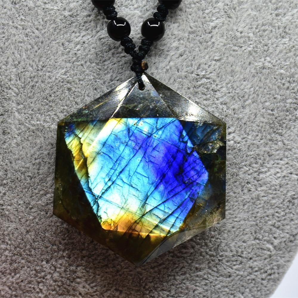 Natural Moonstone Sunstone Labradorite pendant 12 faceted single point Pendulum Divination devotional meditation