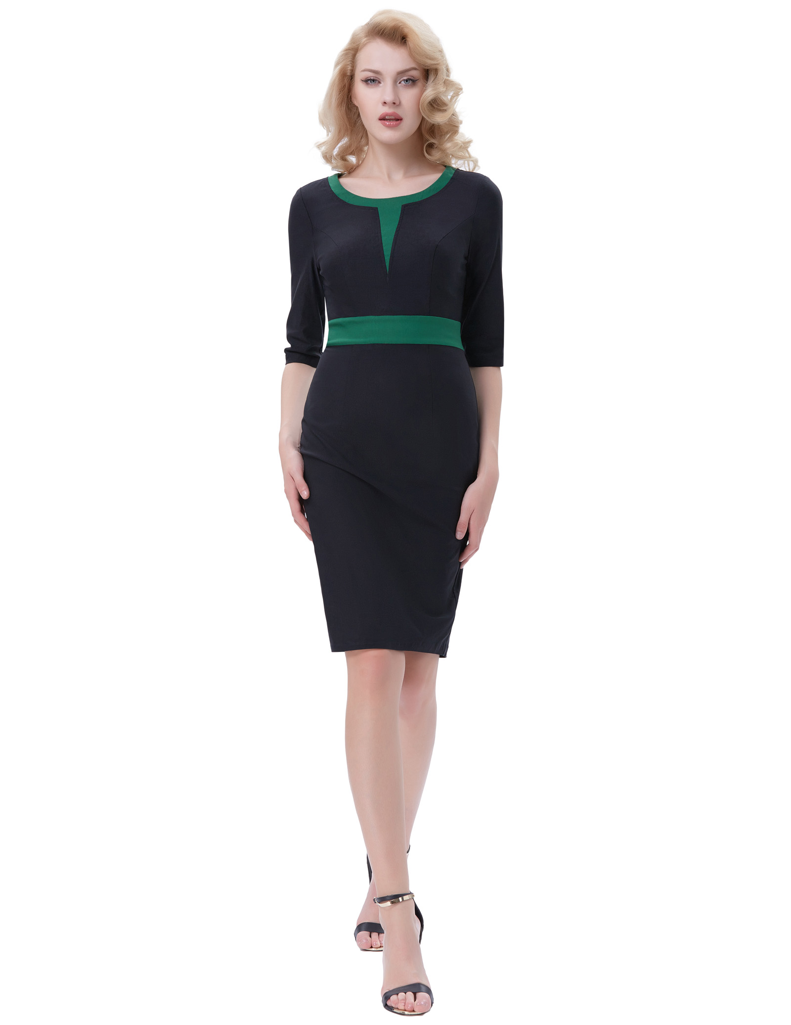 stock Retro Vintage work wrap dress elegant 3/4 Sleeve Crew Neck Contrast Color kim kardashian slim Bodycon Dress women elbise