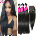 7A Malaysian Straight Hair With Closure Malaysian Virgin Hair With Closure Straight Weave Human Hair 3 Bundles With Lace Closure