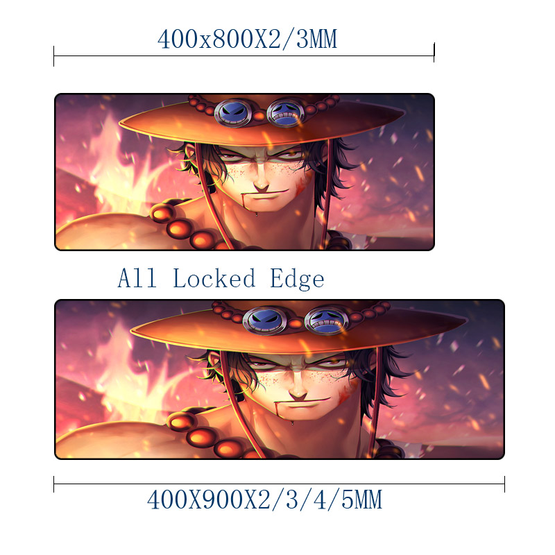 Mairuige 400x800MM One Piece Anime Comic Mousemat ACE Onepiece Pattern Mousepad Anti-skid Wear Rubber Mat for Lol Csgo Dota2