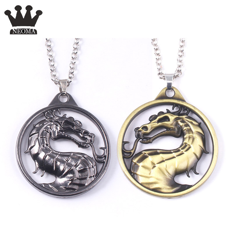 Large Fantasy TV Show Game of Thrones Series Mortal Kombat Necklace Dragon Vintage Bronze Pendant Necklaces Male Jewelry Gift image