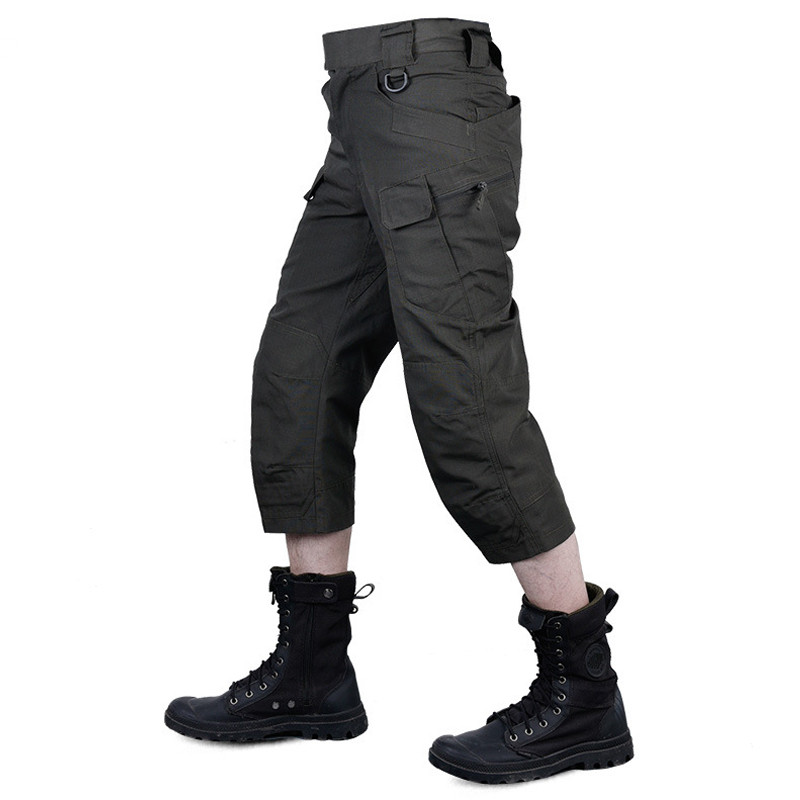 Summer Men IX7 Tactical Military Army Mid Calf Length Cotton Short Trousers Outdoor Sports Three Quarters Cargo Overalls Shorts