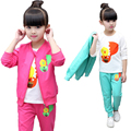Kids Spring 2017 New Fashion Clothing Sets Baby Girls Cute Cotton Chicken Clothes Suit Children Cartoon Coat + Shirt +Pant 3pcs
