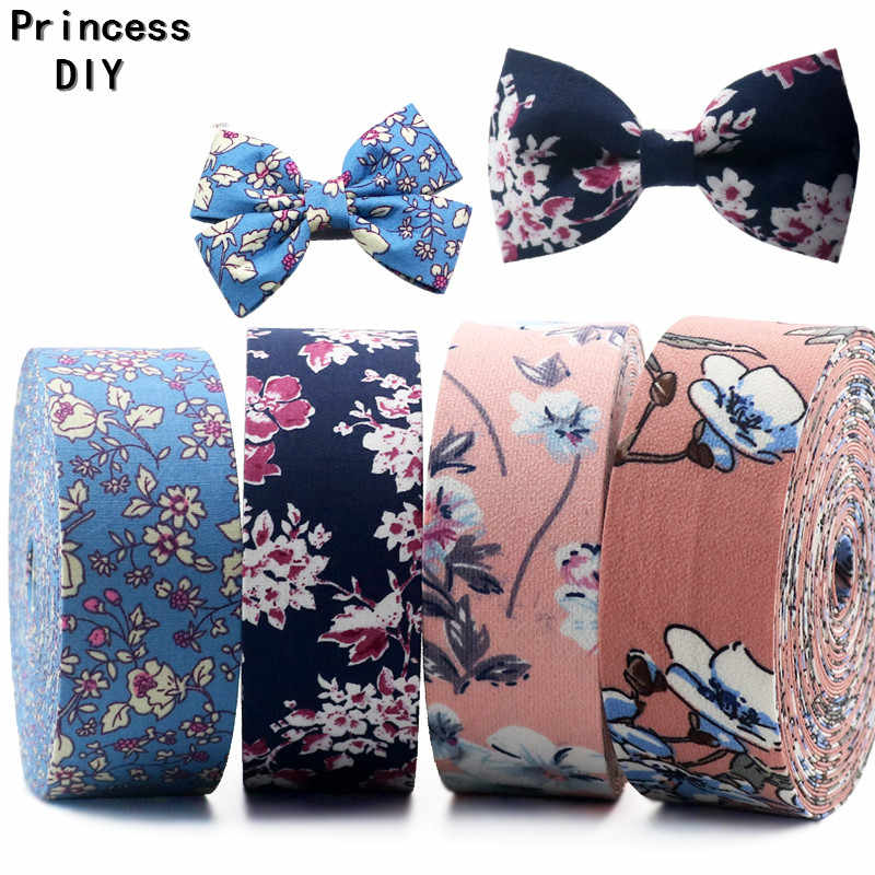 5Meter/Lot 10 25 40mm Flower Printed Fall Ribbon Floral Chiffon Fabric Rib DIY Hair Bow Tie Accessory Choker Collar Material