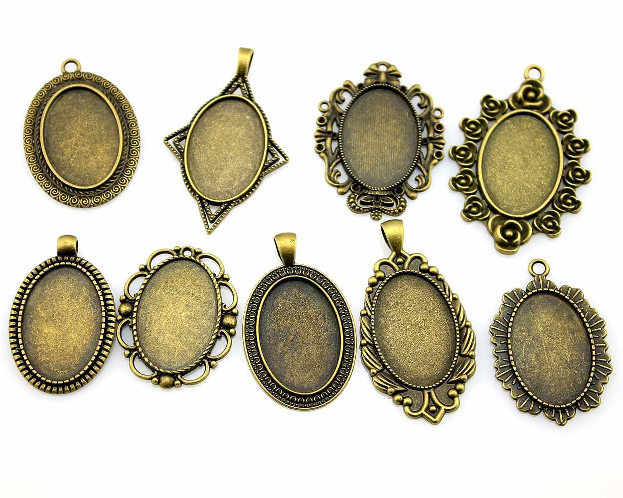 100Gram Oval 20x30mm Inner Size Mix Designs Zinc Alloy Cameo Cabochon Base Setting Jewelry Accessories
