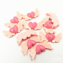 5Pcs Pink Cameo Cabochon Decoration Heart With Wing Acrylic Flat Back Fashion Jewelry DIY Findings 35mm