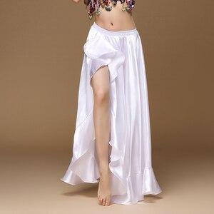 Image 3 - Женская Длинная атласная юбка для танца живота, профессиональная сексуальная юбка для восточных танцев, 2020