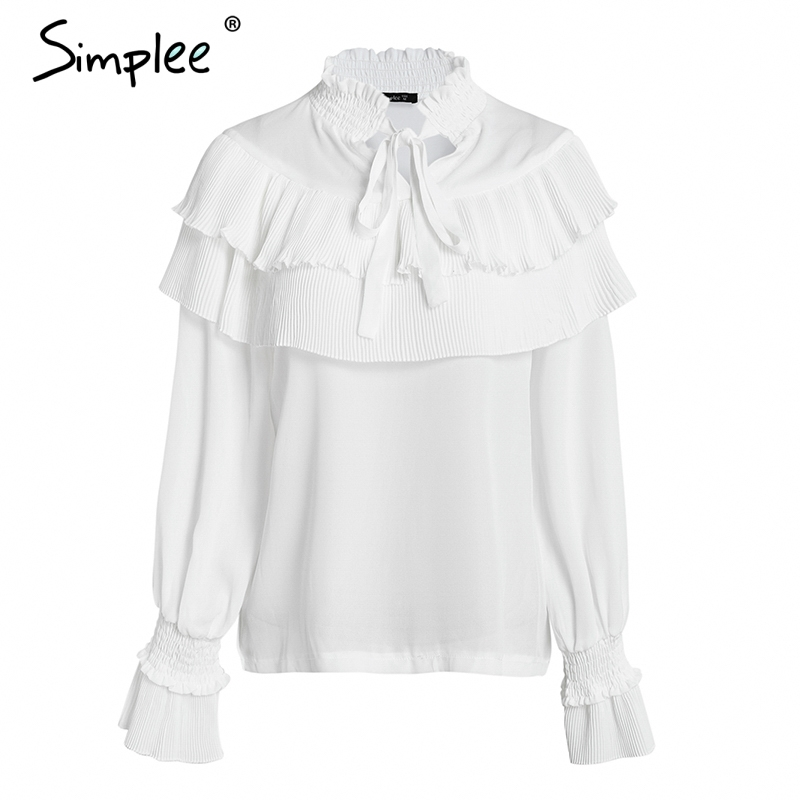 75872e588cfde6 Simplee Vintage lace up ruffle blouse shirt women Long sleeve white chiffon  blouse Streetwear casual summer top female blusas-in Blouses   Shirts from  ...