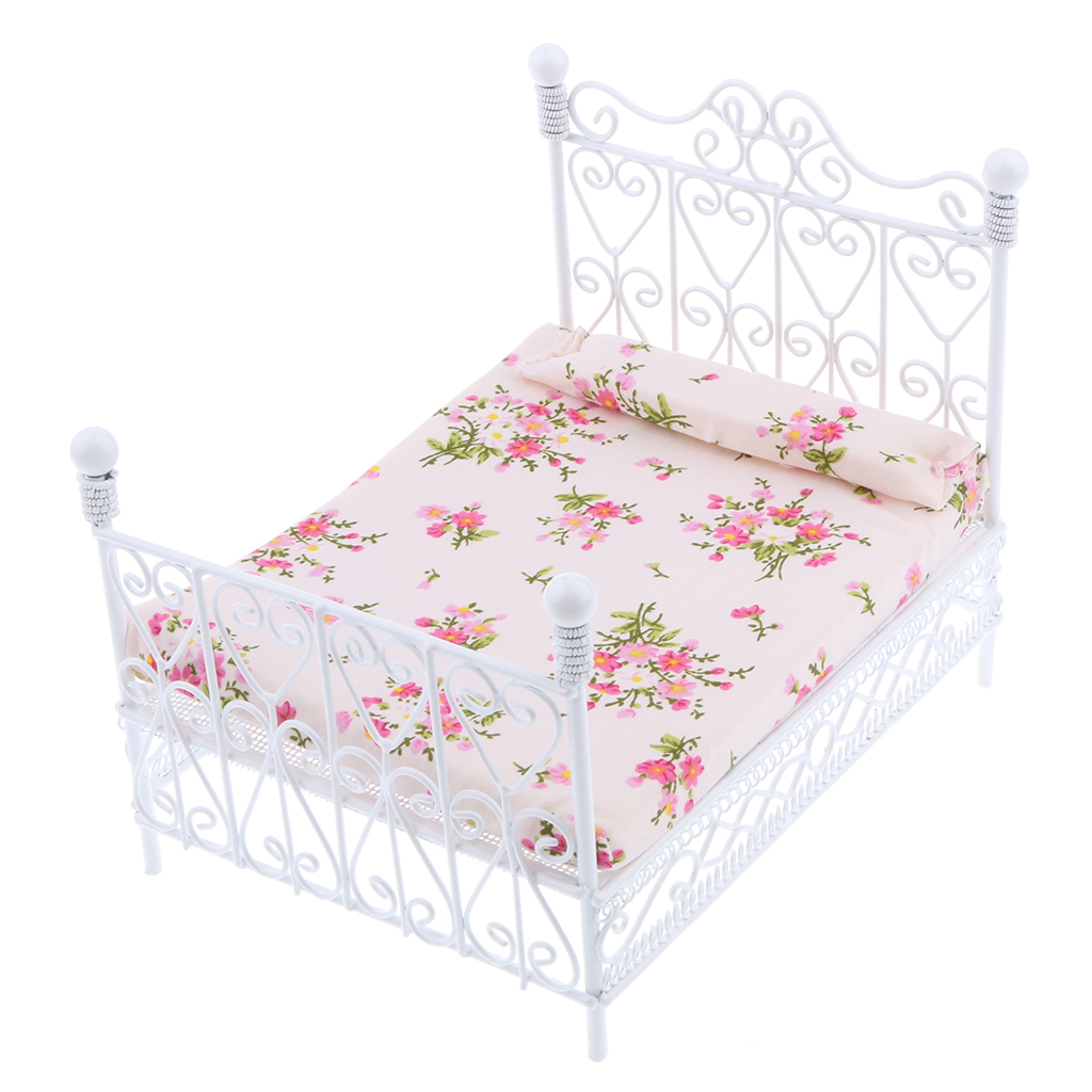 ABWE Best Sale 1: 12 Dollhouse Miniature Bedroom Furniture Metal Bed With Mattress Accessory Toy White
