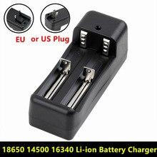 ユニバーサルデュアルバッテリー充電器18650 14500 16340 26650充電式リチウムイオンバッテリー充電器eu/米国