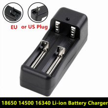 Universal Dual Battery Charger For 18650 14500 16340 26650 Rechargeable  Li-ion battery charger EU / US portable universal dual battery charger for 18650 16340 cr123a battery smart charger black