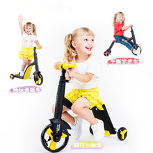New Children Scooter Tricycle Baby 3 In 1 Balance Bike Ride On Toys Baby Walker For 2-6 Years Old infant shining scooter children to the 2 3 6 10 years old children three round folding scooters flash slide block toys