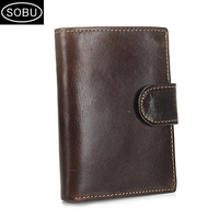 Hot men's buckle wallet short retro leather coin holder first layer cowhide vertical business bag J006