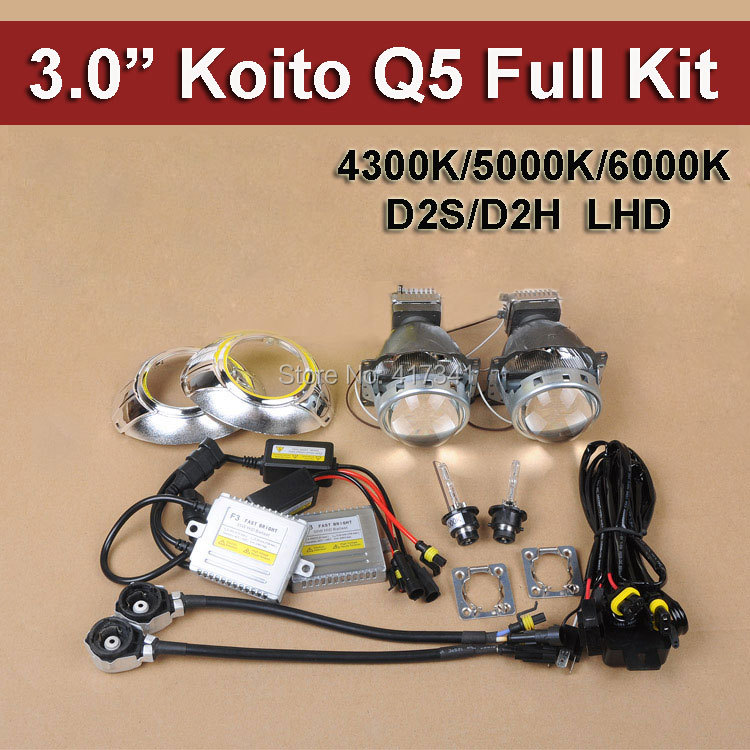 Car Headlight Hid Bi Xenon Projector Lens Kits Koito Q5 35W D2 HID Xenon Bulb Fast HID Ballast Wire Harness and Projector Shroud акустические кабели atlas hyper bi wire 2 to 4 5 0m transpose z plug gold