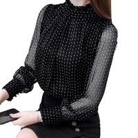 2018 Autumn Blusas Feminina Elegant Chiffon Blouse Korean Fashion Clothing Mesh Ruffle Top Polka Dot Plus Size Transparent D188H