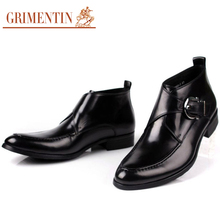 GRIMENTIN Handmade elegant mens boots ankle botas genuine leather black brown elegant buckle strap brand casual men winter shoes