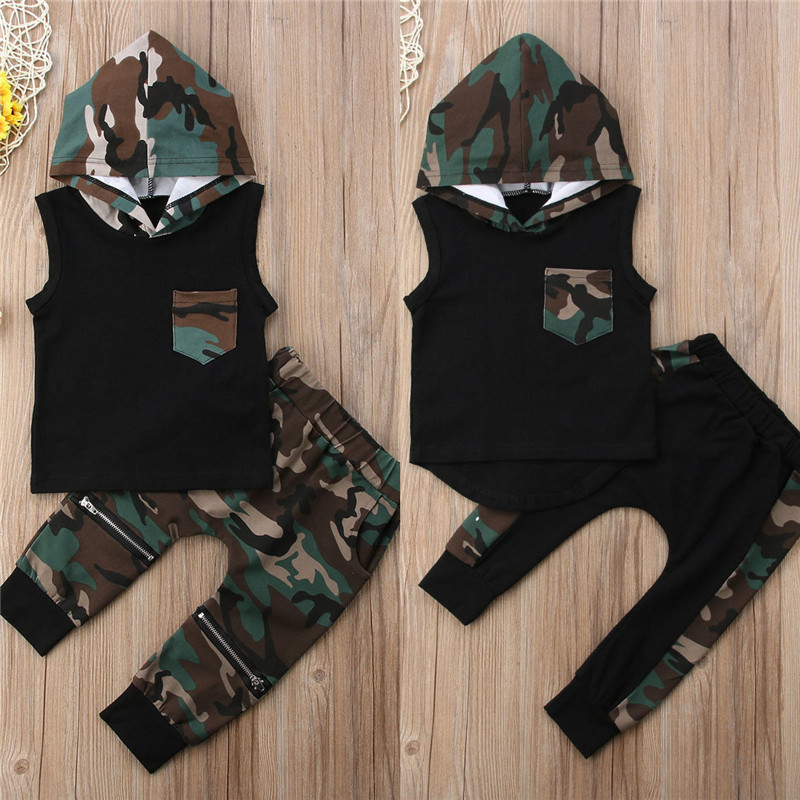 2pcs Baby Boy Camo Summer Clothes Set Newborn Baby Boys Sleeveless Hooded T-shirt Tops Pants Outfit Toddler New Born Tracksuits