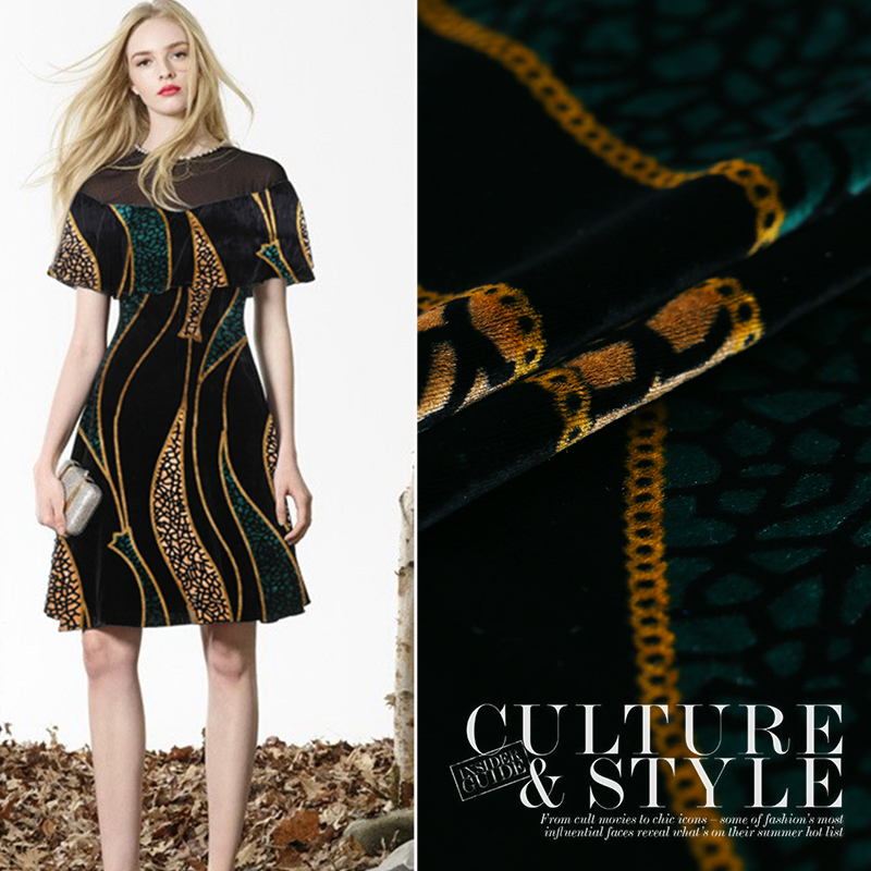 Europe And The United States Autumn Section Genuine Velvet Printing Fabric Silk Velvet Cheongsam Gold Velvet Fabric