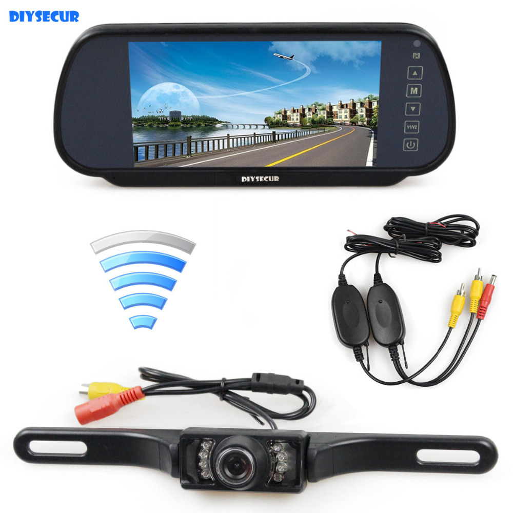 DIYSECUR Wireless Parking System IR Night Vision Rear View Car Camera With 7 inch Car Rear View Mirror Monitor 10w 1200lm xm l2 led diving flashlight waterproof torch lamp free shipping