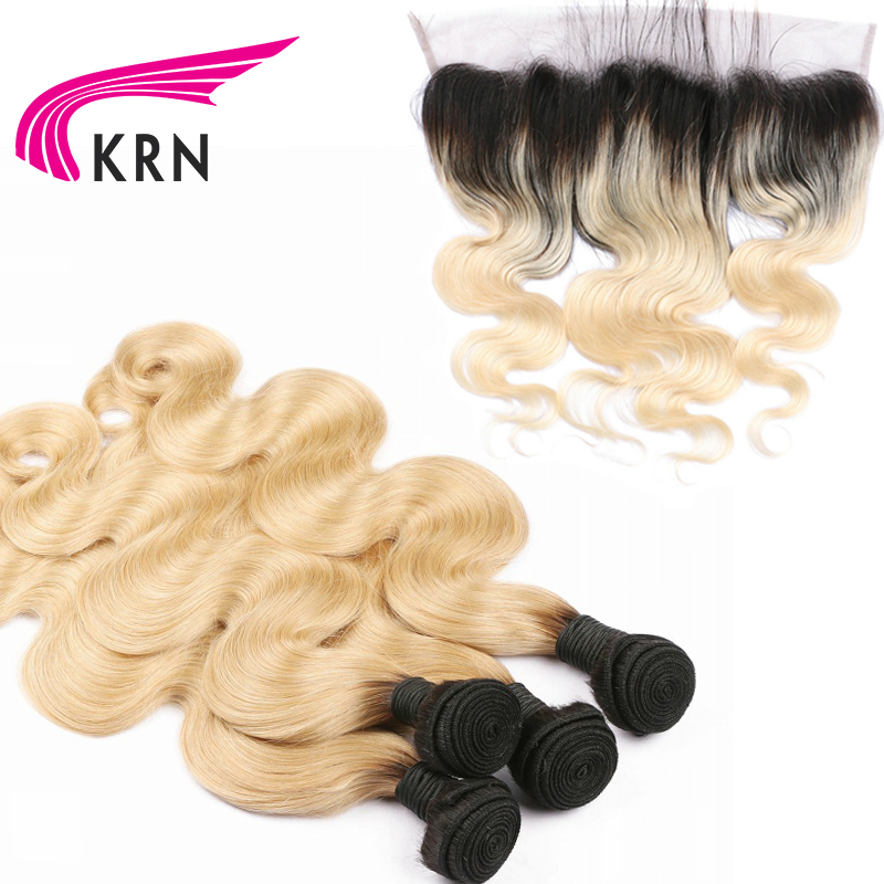 KRN 1B 613 Color Body Wave Remy Hair 4 Hair Bundles With 13*4 Ear To Ear Lace Frontal Closure Hair Brazilian Human Hair Bundles