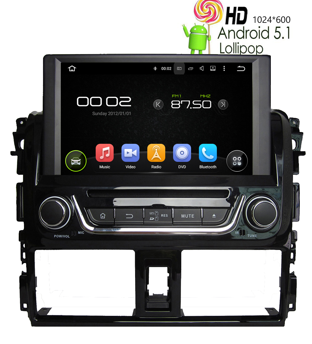 8 car dvd player for toyota yaris 2014 android 5 1 1 gps navigation