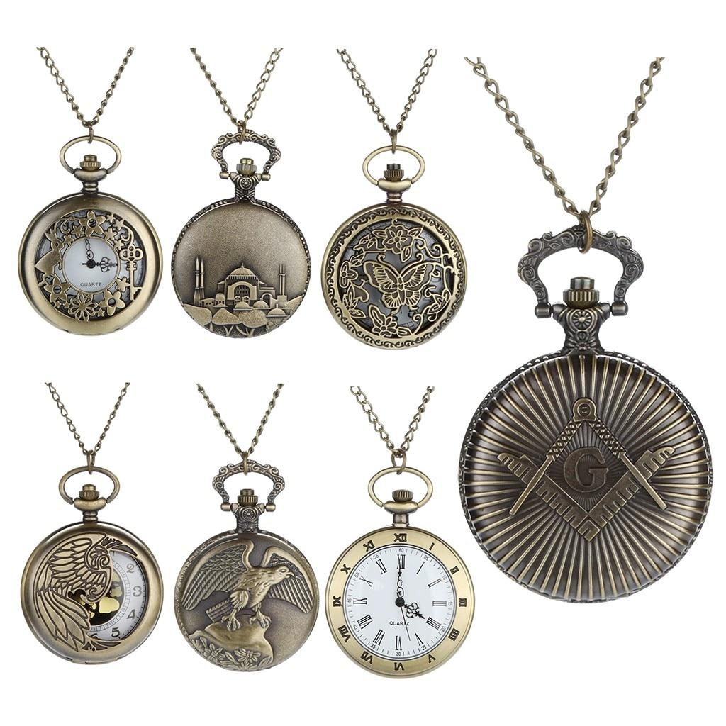 2019 Fashion Vintage Personalized Pattern Steampunk Vintage Quartz Roman Numerals Pocket Watch Montre Relogio Watches Men Reloj