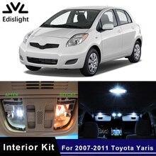 Edis светильник, 8 шт., белый лед, синий светодиодный светильник, автомобильные лампы, интерьерная посылка, комплект для 2007-2011 Toyota Yaris, карта, купол, номерной знак, светильник