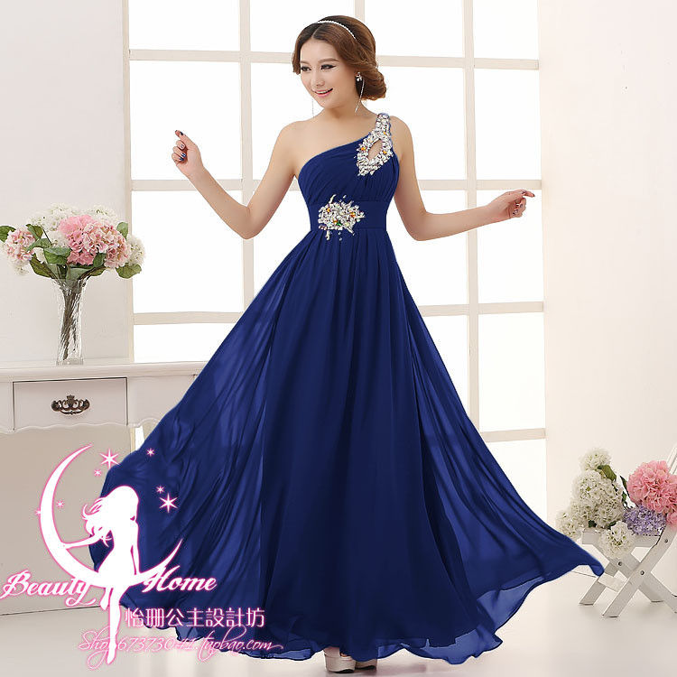 Vestido madrinha2019 new chiffon crystal one shoulder A Line royal blue green champagne orange   bridesmaid     dresses   long wedding