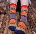 2016 зимняя мода Высокого качества толщиной полосатый хлопок женщины леди вскользь искусства Носки короткие теплый Роскошные Цветочные носки для женщин девушки