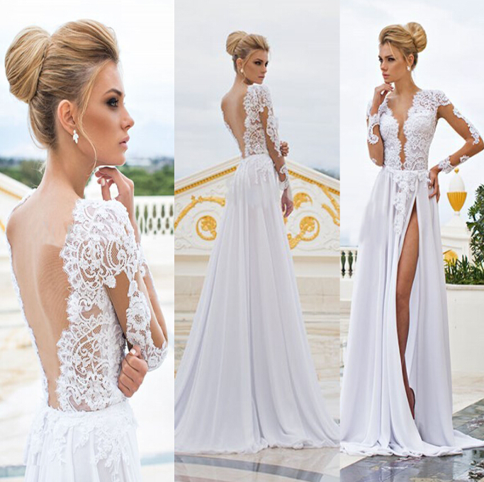 Sexy Side Split 2018 Beach bridal Gown Elegant Lace Applique Long see through Formal prom vestido de noiva   bridesmaid     dresses