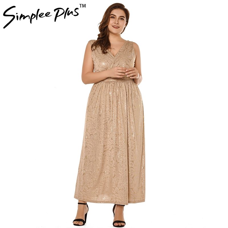 bdec0471a8 Simplee Plus sey women dresses Elegant Plus Size 5XL Dress V Neck Dress  Women glod printted Vestidos Party Long Maxi Dress -in Dresses from Women s  Clothing ...