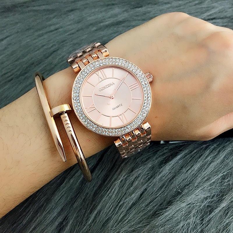 2018 reloj de las mujeres Contena señoras reloj de cuarzo de acero inoxidable completa de diamantes de imitación pulsera de mujer reloj de xfcs relojes para mujer