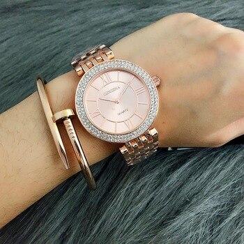 2019 zegarek kobiety Contena panie zegarek kwarcowy pełna Rhinestone zegarki na rękę ze stali nierdzewnej zegarek damski xfcs relojes para mujer