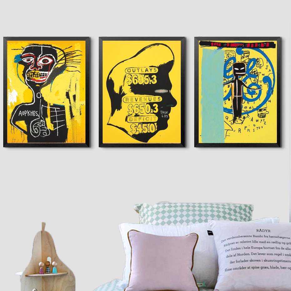 F474 Hot New Jean Michel Basquiat Head Silk Light Canvas Painting ...
