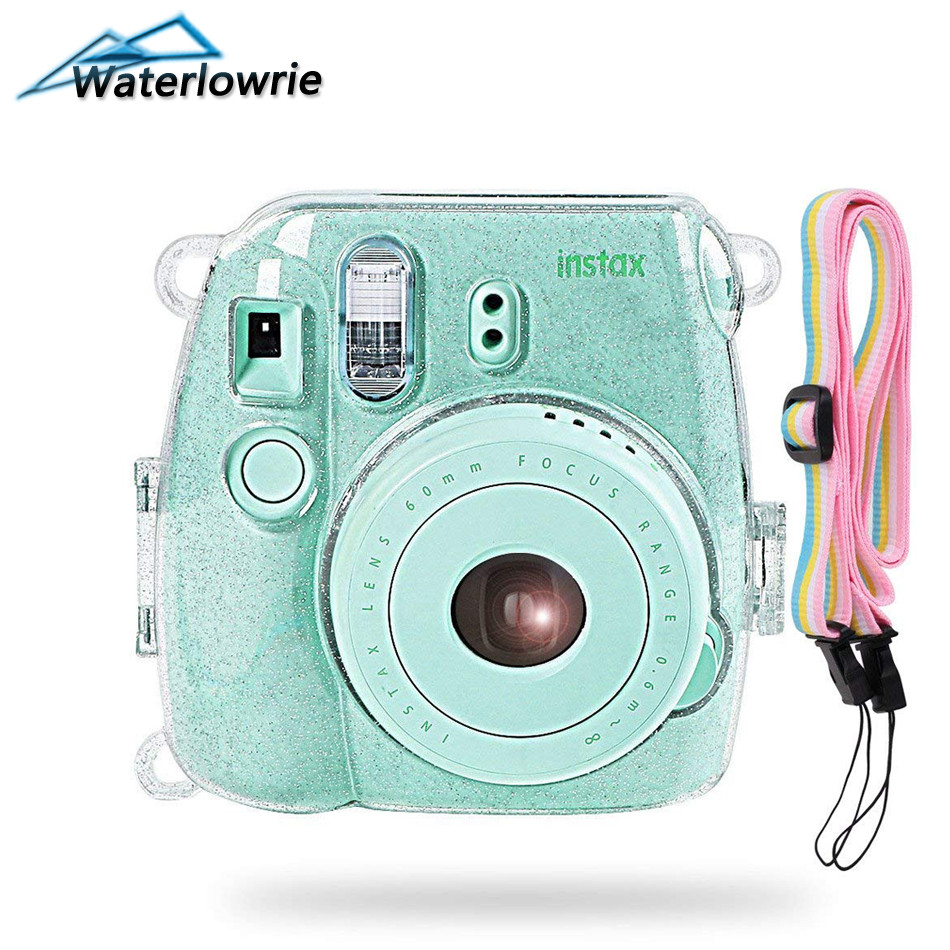 Waterlowrie Camera Bag Shining Transparent Plastic Cover Protect Case For Fujifilm Fuji Instax Mini 9 8 8+ Instant with Strap stylish protective plastic full case for fuji instax mini 8 transparent