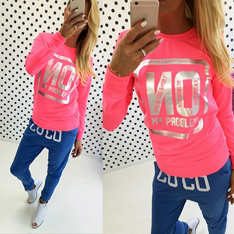 Fashion Women T Shirt Long Sleeve Neon Color Love Letter Print ...